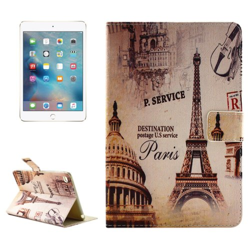 """For iPad Pro 12.9"""" Eiffel Tower Pattern Horizontal Flip Leather Case with Holder"""