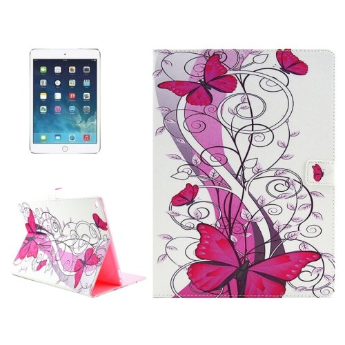 """For iPad Pro 12.9"""" Red Butterfly Pattern Horizontal Flip Leather Case with Holder"""