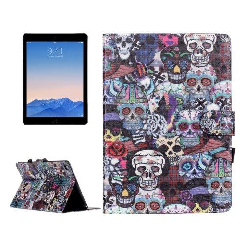 For iPad Air 2/iPad 6 Ghost Pattern Flip Leather Case with Holder & Card Slots & Wallet
