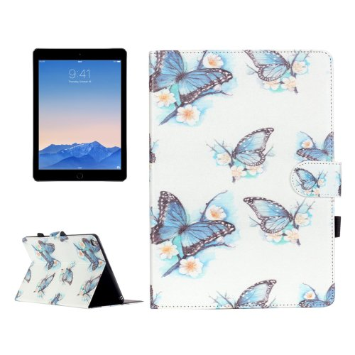 For iPad Air 2/iPad 6 Butterfly Pattern Flip Leather Case with Holder & Card Slots & Wallet