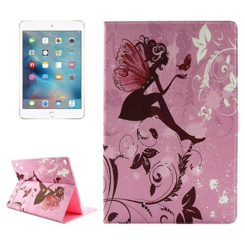 """For iPad Pro 12.9"""" Girl and Butterfly Pattern Diamond Flip Leather Case with Holder"""