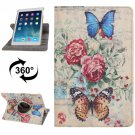 For iPad Air Rotatable Butterfly Pattern Leather Case with 3 Gears Holder