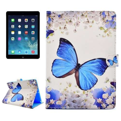 For iPad Air/iPad 5 Butterfly Pattern Leather Case with Holder; Card Slots & Wallet