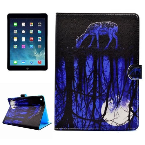 For iPad Air/iPad 5 Reflection Pattern Leather Case with Holder; Card Slots & Wallet