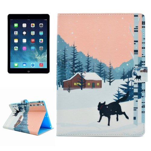 For iPad Air/iPad 5 Snow dog Pattern Leather Case with Holder; Card Slots & Wallet