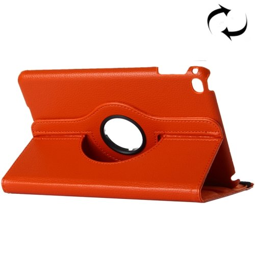 "For iPad Pro 12.9"" Orange Litchi Smart Cover Leather Protective Case with Rotating Holder"