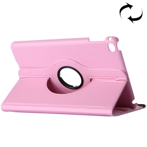 "For iPad Pro 12.9"" Pink Litchi Smart Cover Leather Protective Case with Rotating Holder"