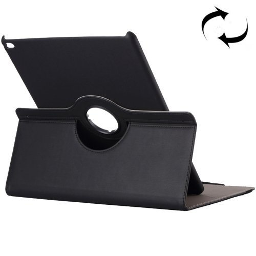 "For iPad Pro 12.9"" Black Cloth Smart Cover Leather Protective Case with Rotating Holder & Card slots"