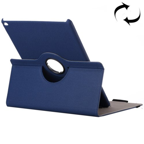 "For iPad Pro 12.9"" D BlueCloth Smart Cover Leather Protective Case with Rotating Holder & Card slots"