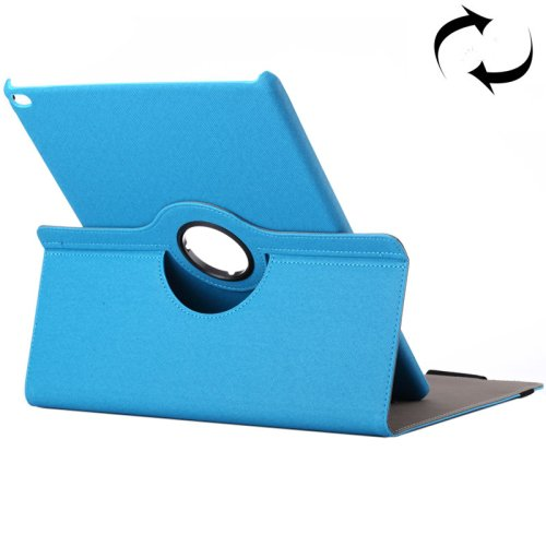 """For iPad Pro 12.9"""" Blue Cloth Smart Cover Leather Protective Case with Rotating Holder & Card slots"""