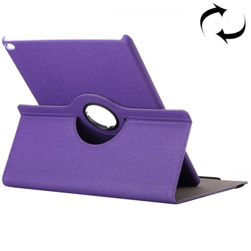 """For iPad Pro 12.9"""" Purple Cloth Smart Cover Leather Case with Rotating Holder & Card slots"""