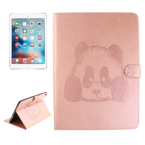 """For iPad Pro 9.7"""" Pink Embossed Panda Leather Case with Holder, Card Slots & Wallet"""