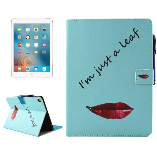 """For iPad Pro 9.7"""" Lips Smart Cover Leather Case with Holder, Card/Pen Slots & Wallet"""