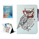 "For iPad Pro 9.7"" Owl Smart Cover Leather Case with Holder, Card/Pen Slots & Wallet"