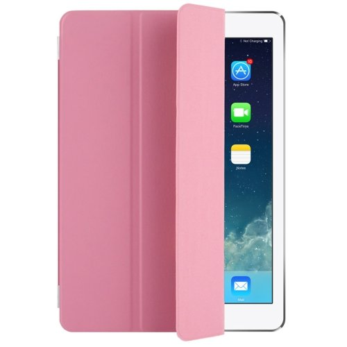 "For iPad Pro 9.7"" Pink Single Side Polyurethane Smart Cover with 3-Folding Holder"