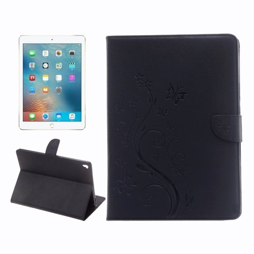 """For iPad Pro 9.7"""" Black Flowers Magnetic Leather Case with Holder, Card Slots & Wallet"""