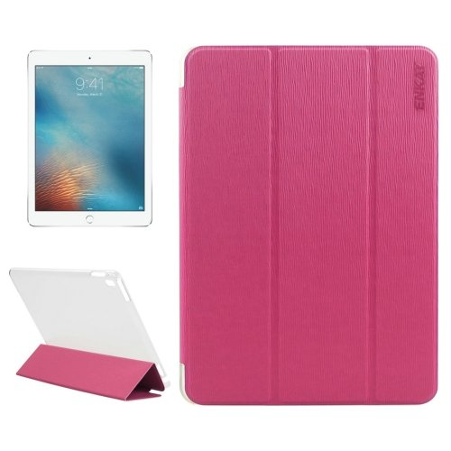 """For iPad Pro 9.7"""" Magenta Enkay Toothpick Smart Cover Leather Case with 3-Folding Holder"""