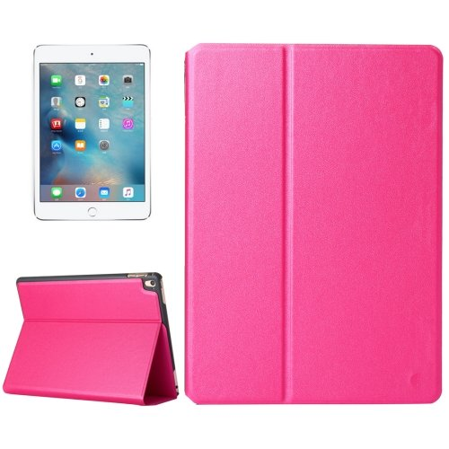 """For iPad Pro 9.7"""" Magenta Frosted Texture Flip Solid Color Leather Case with Holder"""