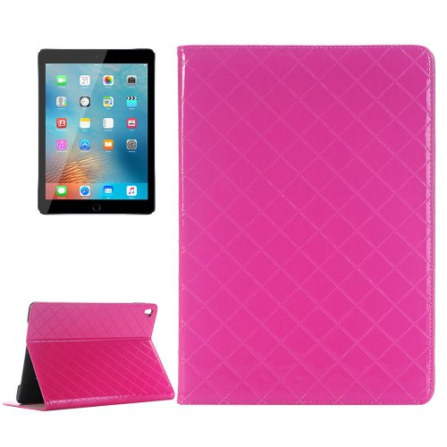 """For iPad Pro 9.7"""" Grid Magenta Flip Leather Case with Card Slots, Holder & Wallet"""