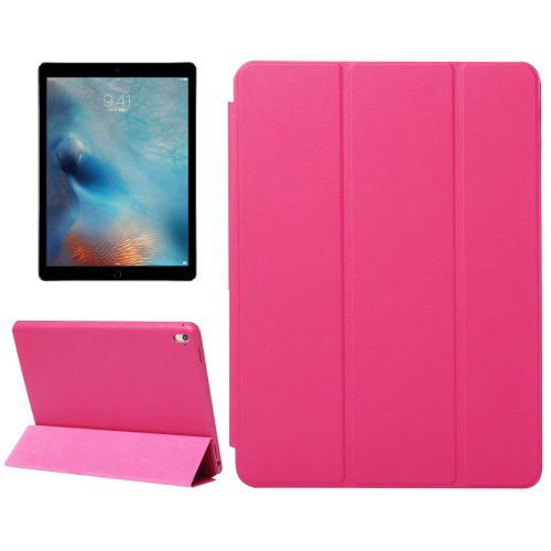 "For iPad Pro 9.7"" Magenta Solid Color Smart Cover Leather Case with 3 Fold Holder"