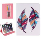 "For iPad Pro 9.7"" Feather Pattern Flip Leather Case with Holder, Card Slots & Wallet"