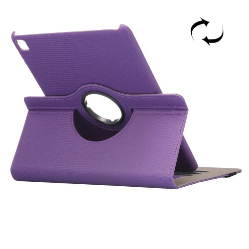 """For iPad Pro 9.7"""" Purple Cloth Smart Cover Leather Case with Rotating Holder, Card Slots"""
