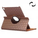 """For iPad Pro 9.7"""" Brown Lattice Smart Cover Leather Case with Rotating Holder, Card Slots"""
