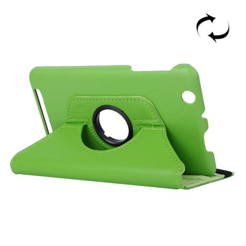 For Acer Iconia One 7 Green Litchi Rotating Leather Case with 2 Gears Holder