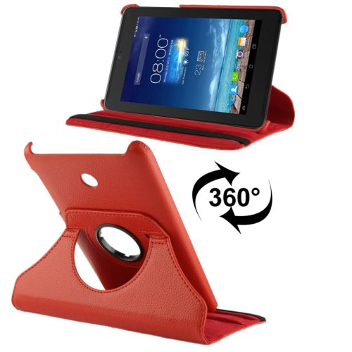 For ASUS Fonepad 7 Red Litchi Leather Case with Rotating Holder