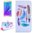 For Galaxy Note 5 Feathers Diamond Leather Case with Holder, Wallet & Card Slots