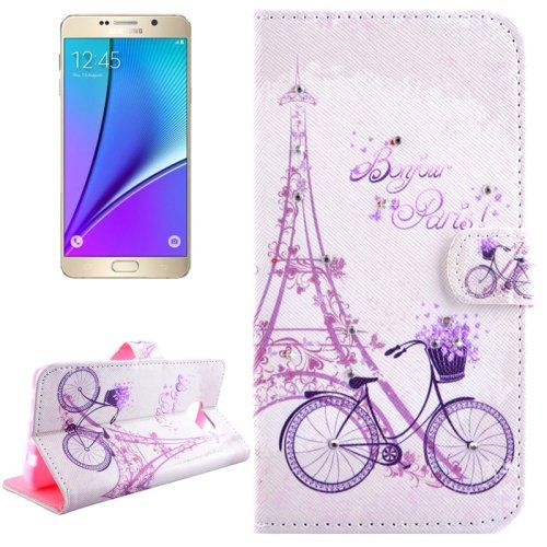 For Galaxy Note 5 Bicycle Diamond Leather Case with Holder, Wallet & Card Slots