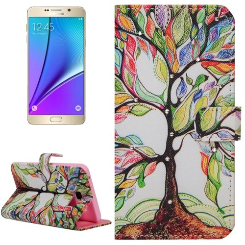 For Galaxy Note 5 Tree Diamond Leather Case with Holder, Wallet & Card Slots