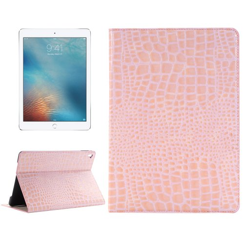 """For iPad Pro 9.7"""" Pink Crocodile Flip Leather Case with Holder & Card Slots & Wallet"""