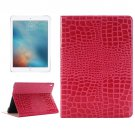 "For iPad Pro 9.7"" Magenta Crocodile Flip Leather Case with Holder & Card Slots & Wallet"