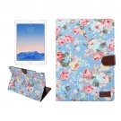 "For iPad Pro 9.7"" Blue Flowers Cloth Leather Smart Case with Holder, Card Slots & Wallet"