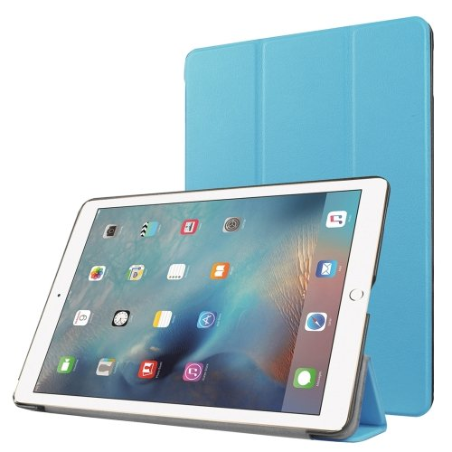 """For iPad Pro 9.7"""" Blue Custer Flip Leather Smart Case with 3 Folding Holder"""