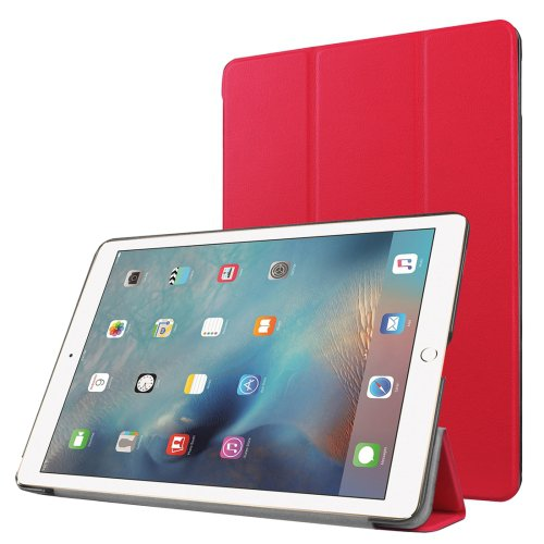 "For iPad Pro 9.7"" Red Custer Flip Leather Smart Case with 3 Folding Holder"