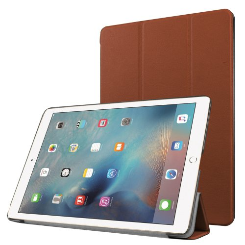 """For iPad Pro 9.7"""" Brown Custer Flip Leather Smart Case with 3 Folding Holder"""