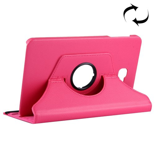 For Tab A 10.1/T580 Magenta Litchi Flip Leather Case with 360° Rotation Holder
