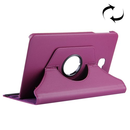 For Tab A 10.1/T580 Purple Litchi Flip Leather Case with 360° Rotation Holder