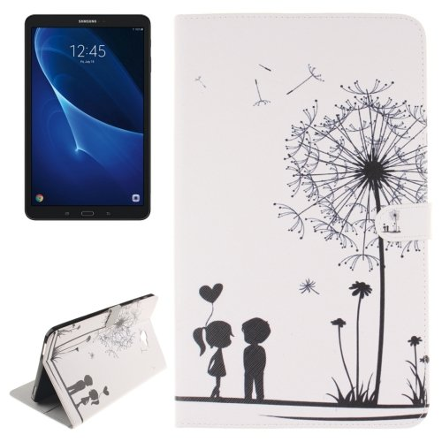 For Tab A 10.1/T580 Couple Pattern Leather Case with Holder, Card Slots & Wallet
