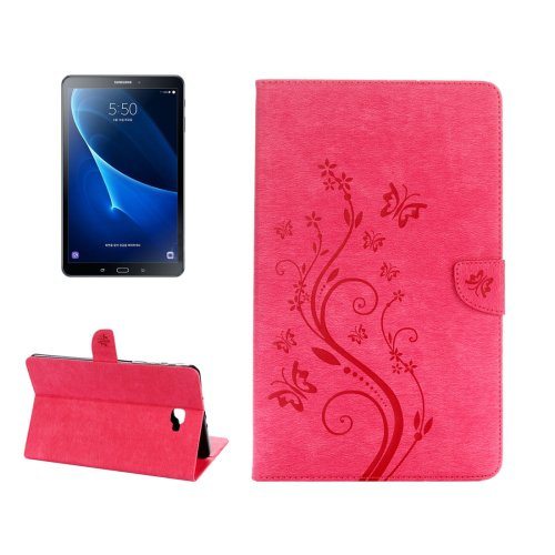 For Tab A 10.1 (2016) Magenta Butterlies Leather Case with Holder, Card Slots & Wallet