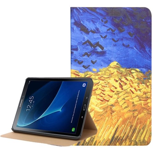 For Tab A 10.1 (2016) Wheat Field Pattern Flip Leather Case with Holder