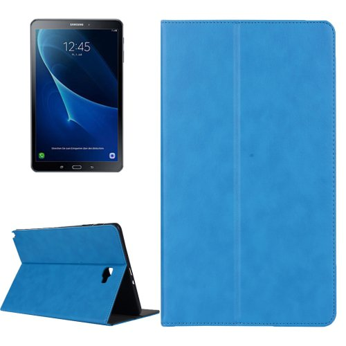 For Tab A 10.1 (2016) Blue Cowhide Leather Case with Holder, Card Slots & Wallet