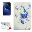 For Tab A 10.1/P580 Blue Flower Pattern Diamond Leather Case with Holder