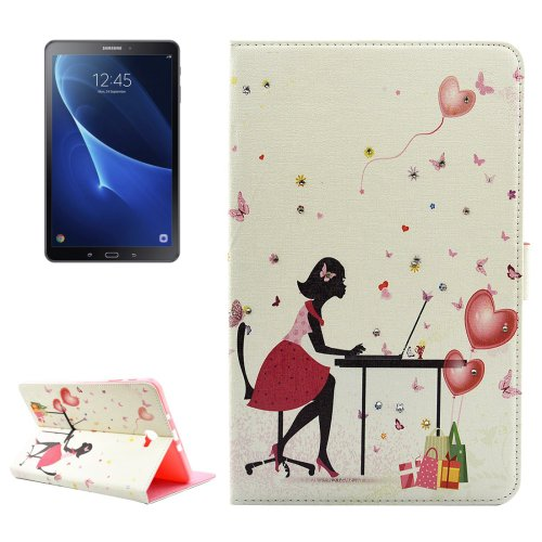For Tab A 10.1/T580 Working Girl Pattern Diamond Leather Case with Holder
