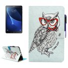 For Tab A 10.1/T580 Owl Smart Cover Leather Case with Holder, Card Slots & Wallet