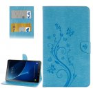 For Tab A 10.1/P580 Blue Butterlies Leather Case with Holder, Card Slots & Wallet