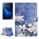 For Tab A 10.1/T580/85 Flowers Pattern Flip Leather Case with Holder, Card Slots & Wallet