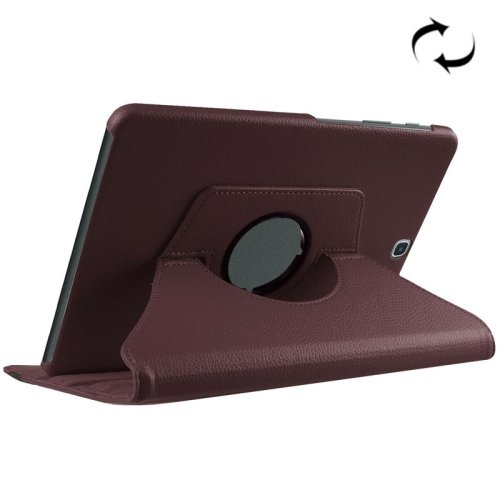 For S2 9.7/T815 Coffee Litchi Solid Color Leather Case with 360° Rotating Holder